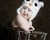 6-12 month size fuzzy white owl hat with earflaps