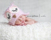 3-6 month sleeping pink fuzzy owl hat with earflaps