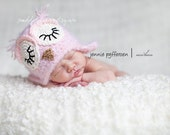 12-24 month size pink fuzzy sleeping owl hat with earflaps