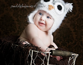 newborn to 12-24 month white owl hat with earflaps