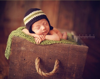 Newborn brown and green striped beanie