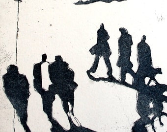 Walk in the Park: wall art decor, urban landscape portrait, a hand pulled limited edition etching in black and white.