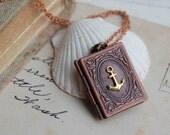 Nautical Anchor Book Locket Necklace Sailor Pirate