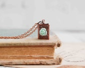 Tiny Book Locket Necklace Mint Rose Copper Book Vintage Style Romance