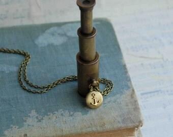 World Traveler SPYGLASS Pendant Antique Brass Collapsing TELESCOPE Steam Punk Nautical Sailor Pirate