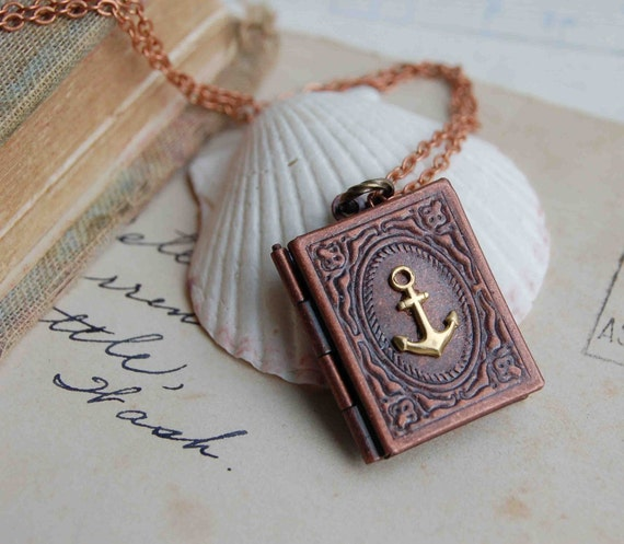 Anchor Necklace Anchor Locket Pendant Summer Necklace Best Friend Gift You Are My Anchor Gift for Her Nautical Book Locket Gift for Him