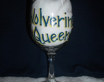 Personalized Michigan Wolverine Queen Wine Glass, Hand Painted, Custom, Wolverines Football, Go Blue, Graduation Gift, Birthday Gift, UM