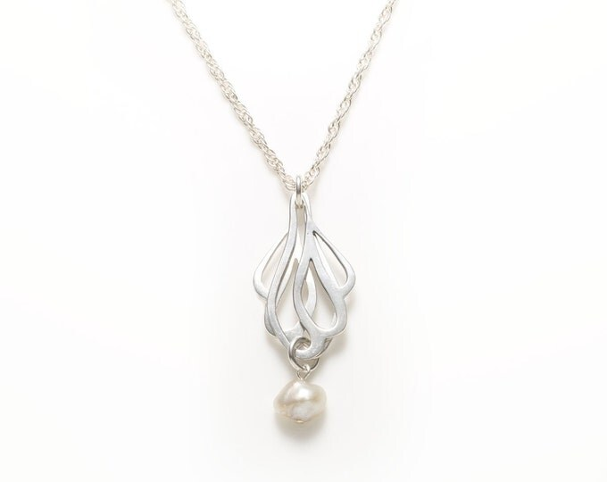 Sterling Silver Butterfly Wings Pendant with a Pearl Pendant Necklace