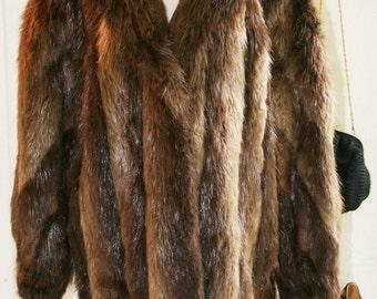 Vintage Fur Coat - 1980s Fur Coat - Nutria Fur Jacket - Coat - Hollywood Glam - Retro Rich - by Albi Furs of Boston - 44 Bust