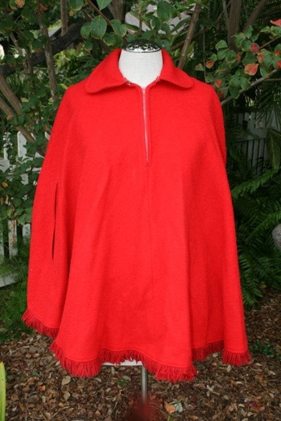 Little Red Riding Hood, You're Everything That a Big Bad Wolf Would Want - Red Wool Poncho