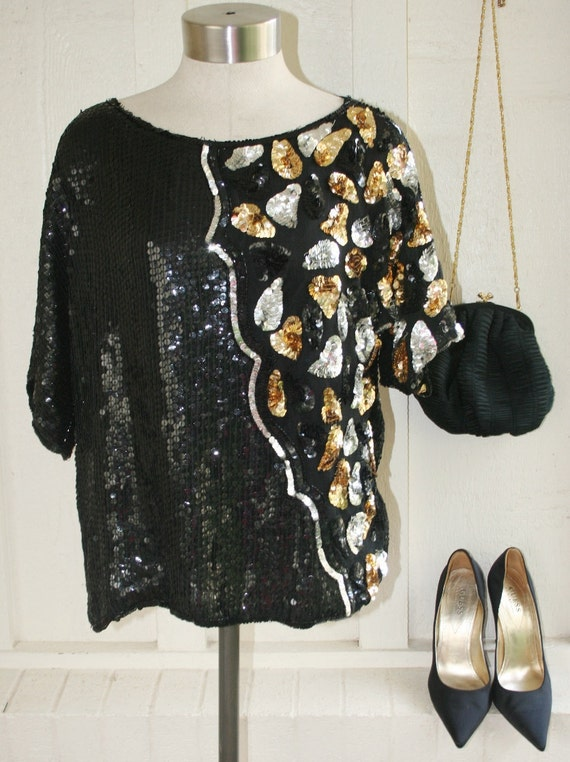 Oh How You Sparkle - Party Sparkler - Cocktail - Sequins on Silk - Flashy Blouse
