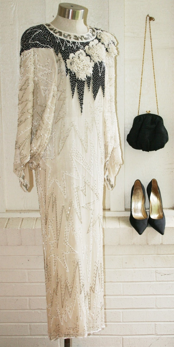 The Ultimate Flapper  - Circa 70's - Beaded Cocktail Gown - by Lemieux  of Paris