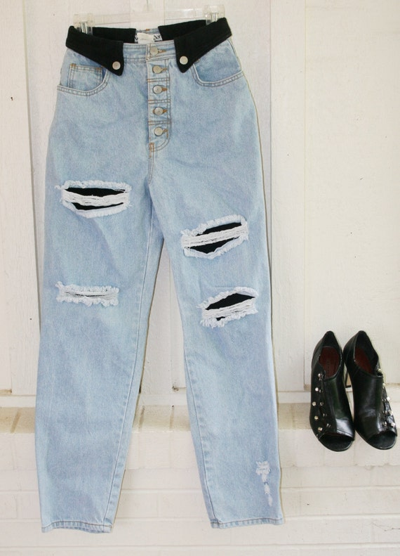 Hold for EO - White Snake Groupie - Circa 1980 - Highwaisted - Button Fly - Acid Washed - Distressed - by NO JEANS