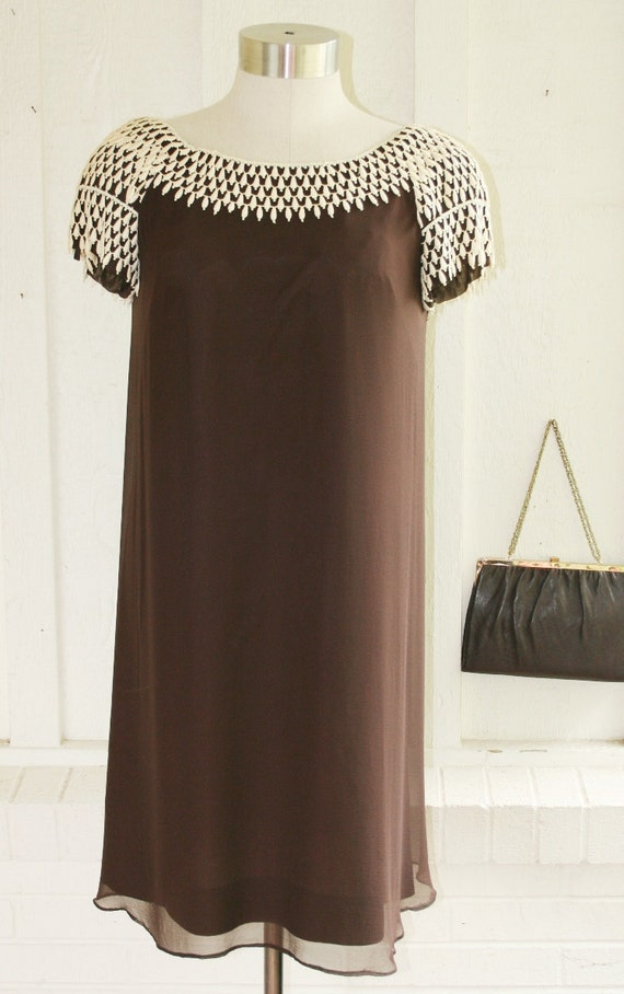 Friend Request - Brown Mod Trapeze - Baby Doll - Mini - Plus Size -  Chiffon Cocktail Dress - by Elinor Gay