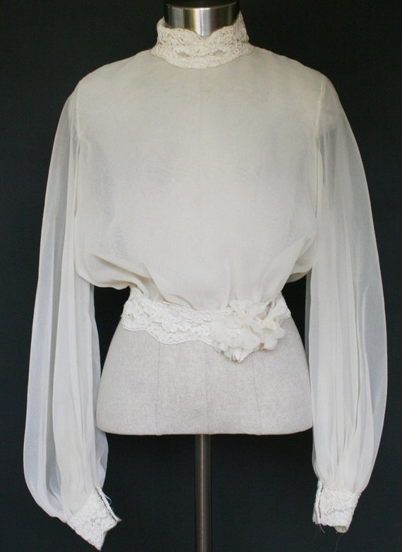 Sheer Bubble Blouse Overlay - Bridal Lace Waistband and Cuffs - Circa 1960 - 70s