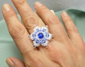 Tatting Snowflake Crystal Cocktail Ring - Dainty Flake shuttle tatting jewelry in white and blue winter snow crystal adjustable ring