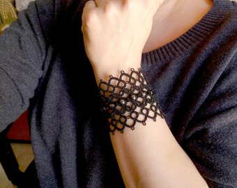 Tatted Cuff Bracelet in black with Hematite -Obsession wide goth cuff bold large statement jewelry