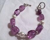 Genuine amethyst and pearl bracelet