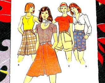 Vintage 1970s Sewing Pattern  Butterick 3739 Misse Culottes Shorts Skirt