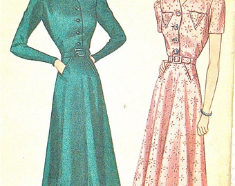 Vintage late 1930s sewing Misses' Dress Pattern Simplicity 2691  Women's dress  Bust 32 inches.