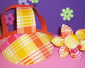 Dog Hat/Visor and Collar Flower Set Sz S