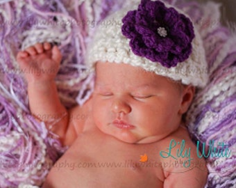 Natural Cream Newborn Hat with Detachable Rhinestone Flower