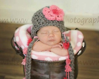 Chunky Flower Earflap Hat- Great Photography  Prop