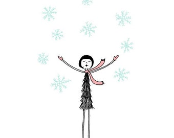 Snowflakes and happiness // Snowy winter day illustration // art print