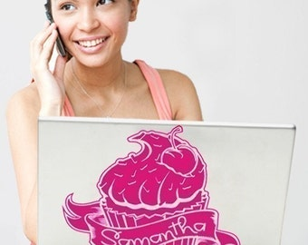 cupcake laptop decal personalized, custom cupcake laptop sticker, FREE SHIPPING