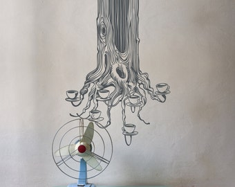 tree vinyl wall decal, sticker art, tea tree, tree roots decal art, tea cups, FREE SHIPPING
