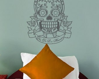 sugar skull vinyl wall decal with custom banner, day of the dead sticker art, FREE SHIPPING