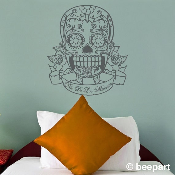 sugar skull vinyl wall decal with custom banner, day of the dead sticker art