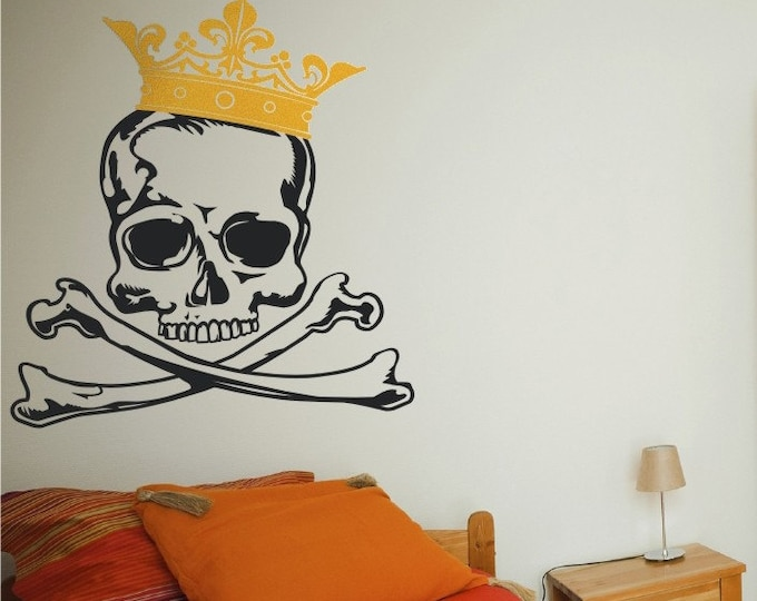 skull with crown vinyl wall decal graphics, skull decal art, king, FREE SHIPPING