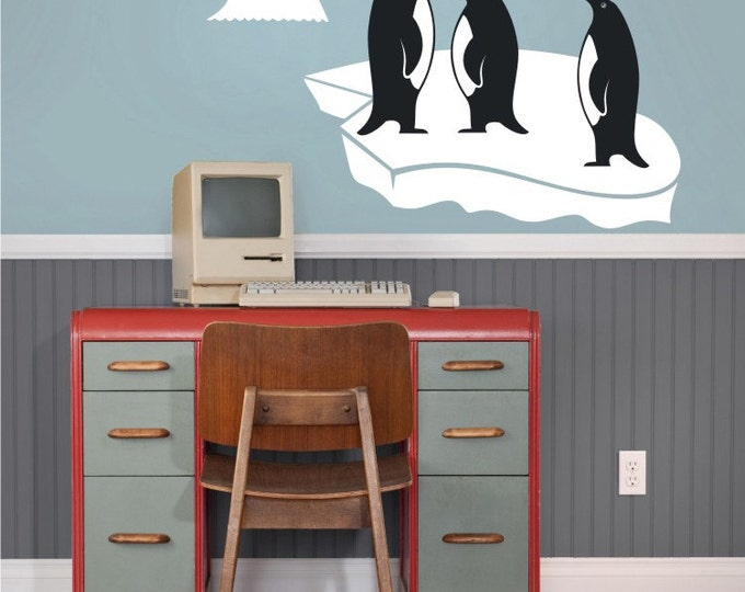 penguin vinyl wall decal set, penguin sticker art, antarctic, FREE SHIPPING
