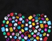 free size BIG HEART one size fits most Rare find Punk Rock Cotton Rhinestones