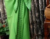 Beach Sarong Wrap Skirt - Batik Pareo Wrap Skirt - Women's Clothing Green Pareo Hawaiian Dress - Swimsuit Cover Up - Batik Sarong Beachwear