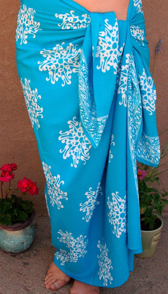 Turquoise Blue Sarong Womens Skirt Beach Wrap Skirt By Puawear