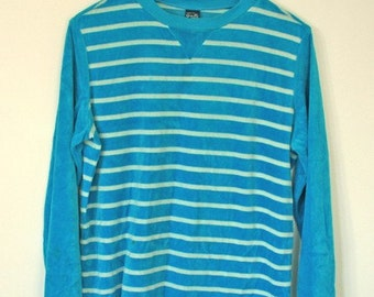 GOOD VIBRATIONS // aqua velour 1970s sweatshirt S / M