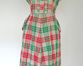 CANDY APPLE // red and green plaid 1950s cotton dress M / L