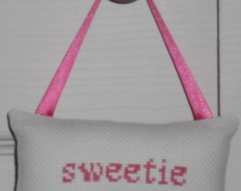 Sweetie Counted Cross Stitch Hanging Pillow