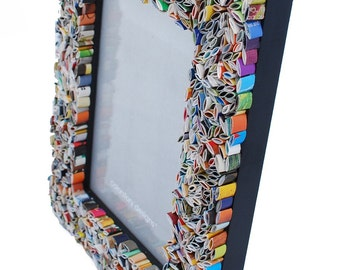 colorful 5x7 picture frame - made from recycled magazines, blue, green, red, purple, pink, yellow, orange