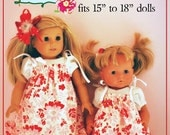 "2 in 1 Doll Dress PDF Sewing Pattern and Pinafore Pattern for 15 to 18 inch dolls 15"" 18"""