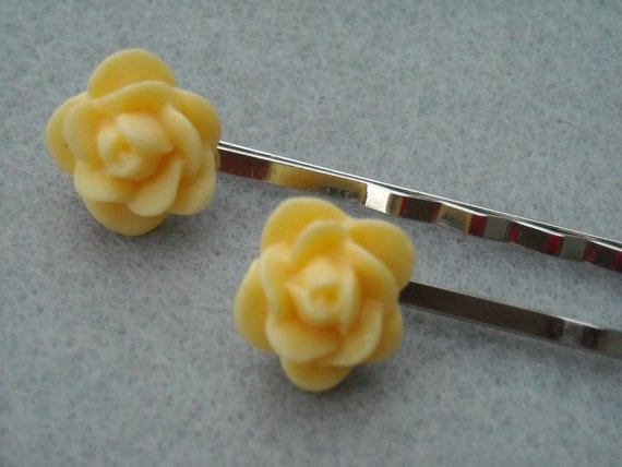 Flower Bobby Pins - Yellow Roses
