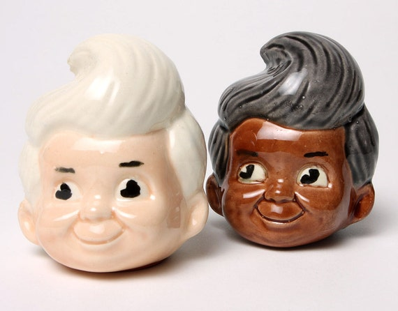 Bob's Big Boy style Multi Racial Salt n' Pepper Shakers