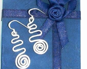 Swirl Earrings, Hammered Earrings, Silverf dangle earrings, Sterling silver Jewelry, Boho, bohemian