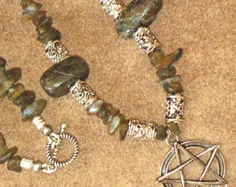 LABRADORITE Chip and Nugget Necklace with Pentacle and Toggle Clasp~Ritual Jewelry