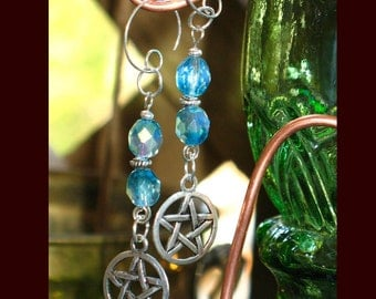 Blue Crystal and Pentacle Gothic Earrings for Pierced Ears
