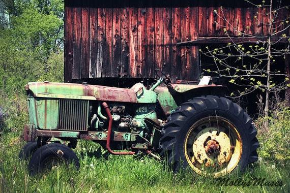 John Deere Green Tractor Photo Old Farm Photo Farmhouse Art