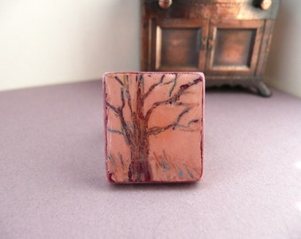 Oak Tree Scrabble Ring Hand Painted Engraved Art Adjustable Band - The Wild Oak.