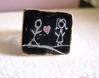 Statement Chalkboard Ring Original Art Scrabble Tile  - Chalkboard Series - Here's My Heart
